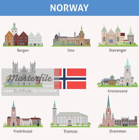 Norway. Symbols of cities. Vector set