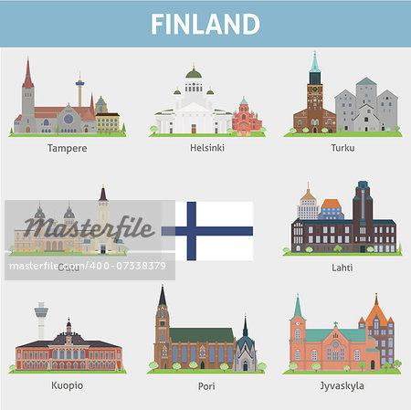 Finland. Symbols of cities. Vector set
