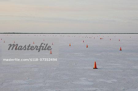 Traffic cones on race course, Bonneville Salt Flats, Speed Week, dusk