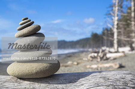 A pile of balancing smooth beach rocks near Rialto Beach, Olympic national park, in Washington, USA