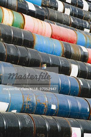 Oil barrels stacked up