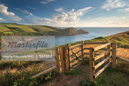 Kissing gate on the South West Coast Path near Crackington Haven, Cornwall, England, United Kingdom, Europe