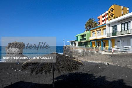 Colorful Houses on Black Volcanic Beach, La Palma, Santa Cruz de Tenerife, Canary Islands