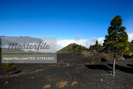 Clouds Filling Valley in Volcanic Mountains, El Pilar, La Palma, Santa Cruz de Tenerife, Canary Islands