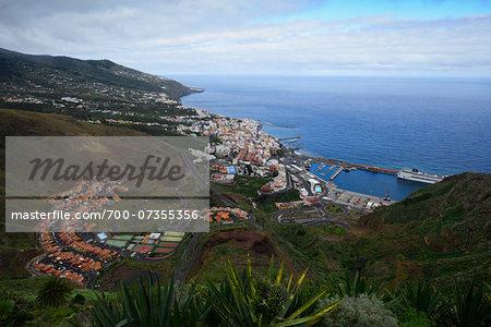 Overview of Town of Santa Cruz de La Palma with Harbour, La Palma, Santa Cruz de Tenerife, Canary Islands