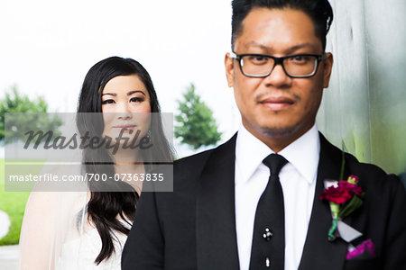 Portrait of Bride and Groom, Focus on Bride