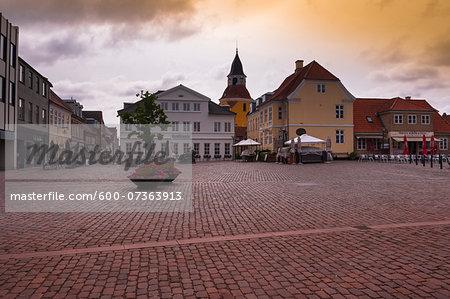 Town Square with Sidewalk Cafes, Faaborg, Fyn Island, Denmark