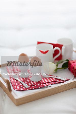 Valentine's Day breakfast tray