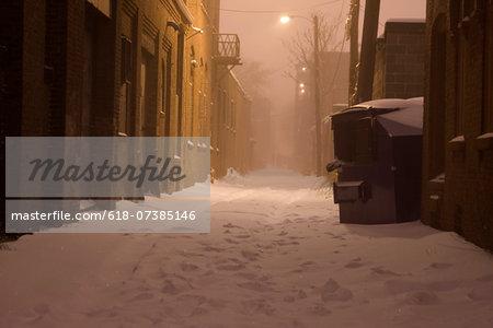Dark Snowy Alley