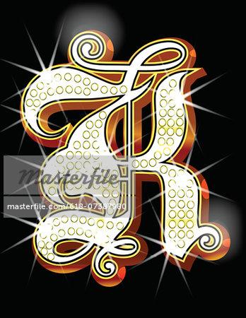 Bling alphabet K