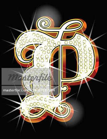 Bling alphabet P
