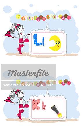 alphabet francais. French alphabet, vector L, K