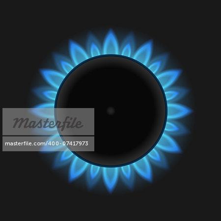 Blue gas flame, vector eps10 illustration