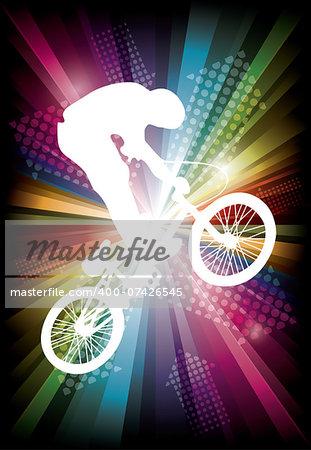 BMX cyclist on rainbow background. vector illustration