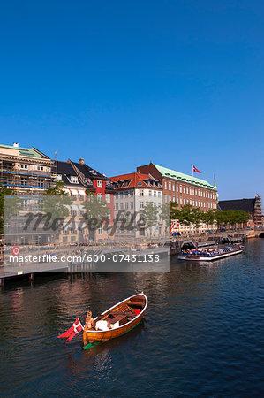 Boats in Canal along Waterfront, Copenhagen, Denmark