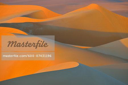 Scenic overview of Sand Dunes at Sunset, Matruh, Great Sand Sea, Libyan Desert, Sahara Desert, Egypt, North Africa, Africa