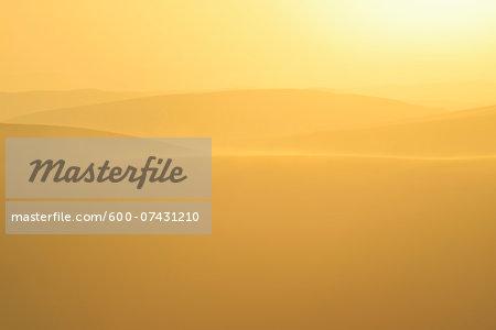 Golden Glow on Sand Dunes with Morning Mist, Matruh, Great Sand Sea, Libyan Desert, Sahara Desert, Egypt, North Africa, Africa