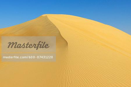 Top of Sand Dune aganist Blue Sky, Matruh, Great Sand Sea, Libyan Desert, Sahara Desert, Egypt, North Africa, Africa