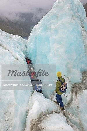 Ice climbers on Fox Glacier, South Island, New Zealand