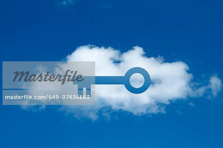 Digital composite of cloud with key shape cut out, secure cloud commitment