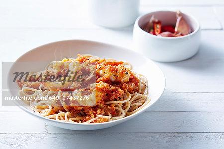 Still life of spaghetti with asian prawns