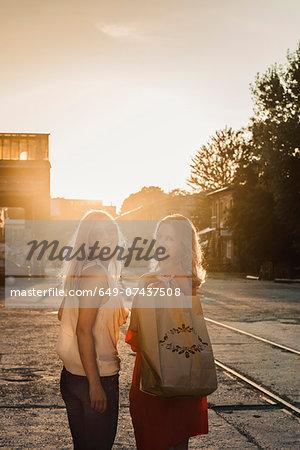 Portrait of two female friends, Berlin, Germany