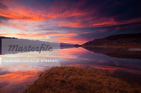 Owens Lake, California, USA at sunset.