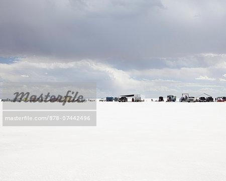 Row of spectators on Bonneville Salt Flats, during Speed Week