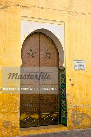 Door to Mosque, Medina, Meknes, Morocco, North Africa, Africa