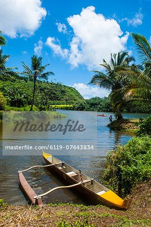 Dugout canoe on the Wailua River. Kauai, Hawaii, United States of America, Pacific