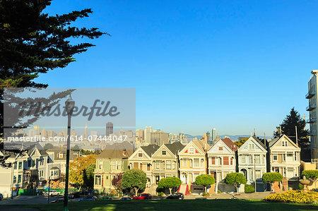 Painted Lady houses, Alamo Square area, San Francisco, California, USA