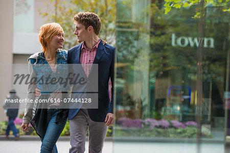 Couple walking, Toronto, Ontario, Canada