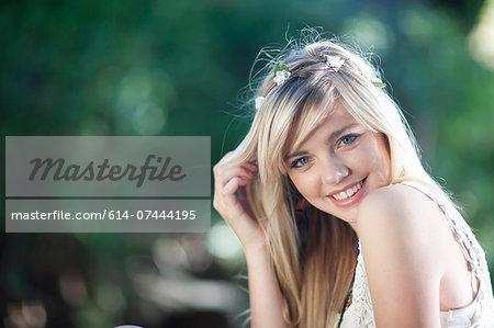 Portrait of  teenage girl in woodland