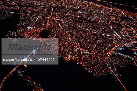 Aerial view of Miami at night, Florida, USA