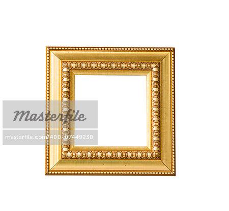 Golden vintage frame isolated on white background