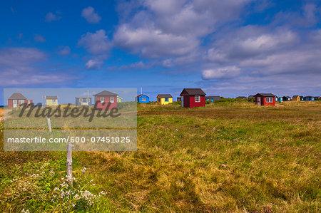 Field and Beach Huts, Aeroskobing, Aero Island, Jutland Peninsula, Region Syddanmark, Denmark, Europe