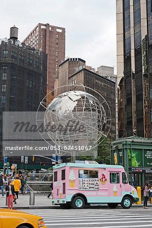World Globe Unisphere at Columbus Circle, New York, USA