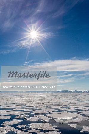 Open leads in first year sea ice in Hinlopen Strait, Svalbard, Norway, Scandinavia, Europe