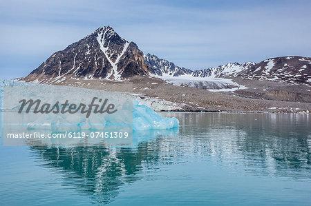 Calved glacial ice at Monacobreen, Spitsbergen, Svalbard, Norway, Scandinavia, Europe