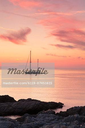 Sunset at the coast near Centuri Port, Corsica, France, Mediterranean, Europe