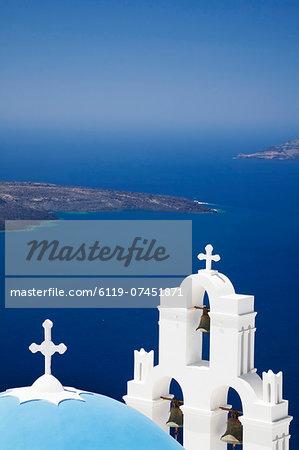 St. Gerasimos Church with blue dome overlooking the Aegean Sea, Firostefani, Santorini, Cyclades, Greek Islands, Greece, Europe