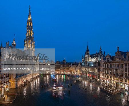 Grand Place dusk, UNESCO World Heritage Site, Brussels, Belgium, Europe