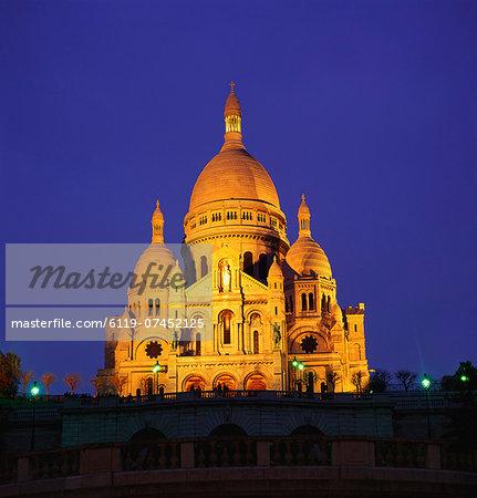 Sacre Coeur Basilica at Night, Paris, France