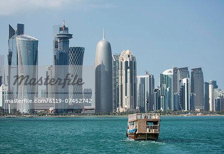 Futuristic skyscrapers in Doha, Qatar, Middle East