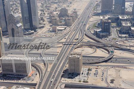 Aerial View of Traffic Junction of Sheikh Zayed Road, Dubai, United Arab Emirates