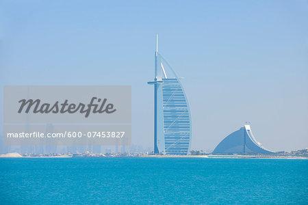 Burj Al Arab and Jumeirah Beach Hotel with Burj Khalifa in the background, Dubai, United Arab Emirates