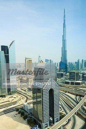 Cityscape and Burj Khalifa, Dubai, United Arab Emirates, Middle East