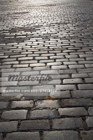 Cobblestone Street near Ellis Island, New York City, New York, USA