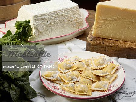 Italian Ravioli pasta with ricotta cheese