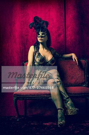 Woman masked in nightie